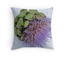 blooming artichoke on lace tablecloth Throw Pillow