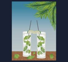 Mojito cocktail on the table One Piece - Short Sleeve