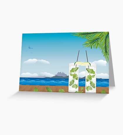 Mojito cocktail on the table 2 Greeting Card