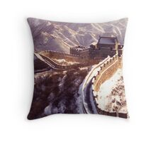 Winter at the Great Wall of China Throw Pillow