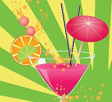Pink cocktail with decorations by AnnArtshock