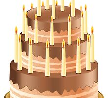 Chocolate cake with candles 2 by AnnArtshock