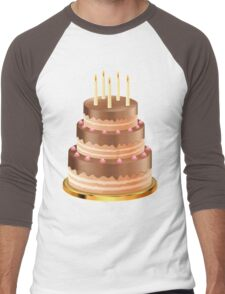 Chocolate cake with candles 3 Men's Baseball ¾ T-Shirt