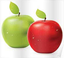 Green apple and red apple Poster