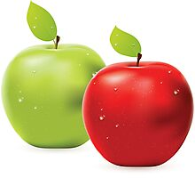 Green apple and red apple Photographic Print