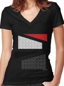 Red white black 2 Women's Fitted V-Neck T-Shirt