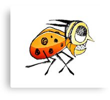 Funny Bug Running Hand Drawn Illustration Canvas Print