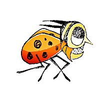 Funny Bug Running Hand Drawn Illustration Photographic Print
