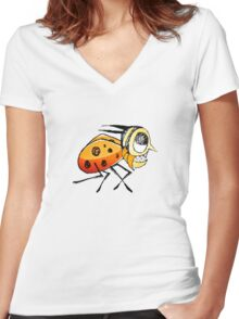 Funny Bug Running Hand Drawn Illustration Women's Fitted V-Neck T-Shirt