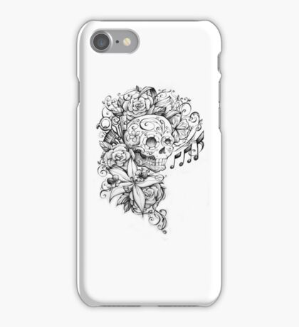 Sugar Skull with Flowers and Scissors iPhone Case/Skin