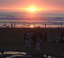 Sunset over Watergate Bay by Beckylou