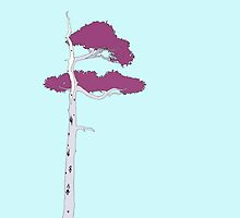 Bonsai Elder (Magenta with Blue Background)  by sprucetree