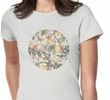 Soft Vintage Rose Pattern Womens Fitted T-Shirt