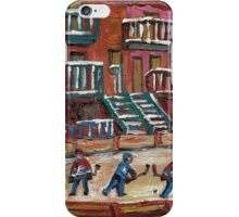 CANADIAN CULTURE PAINTINGS OF OUTDOOR RINK HOCKEY BY CANADIAN ARTIST CAROLE SPANDAU iPhone Case/Skin