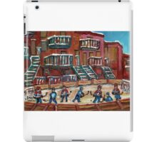 CANADIAN CULTURE PAINTINGS OF OUTDOOR RINK HOCKEY BY CANADIAN ARTIST CAROLE SPANDAU iPad Case/Skin