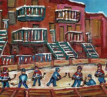 CANADIAN CULTURE PAINTINGS OF OUTDOOR RINK HOCKEY BY CANADIAN ARTIST CAROLE SPANDAU by Carole  Spandau