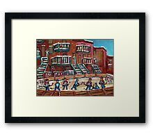CANADIAN CULTURE PAINTINGS OF OUTDOOR RINK HOCKEY BY CANADIAN ARTIST CAROLE SPANDAU Framed Print
