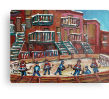 CANADIAN CULTURE PAINTINGS OF OUTDOOR RINK HOCKEY BY CANADIAN ARTIST CAROLE SPANDAU Metal Print
