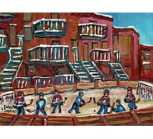 CANADIAN CULTURE PAINTINGS OF OUTDOOR RINK HOCKEY BY CANADIAN ARTIST CAROLE SPANDAU Photographic Print