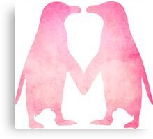 Cute pink watercolor penguins holding hands Canvas Print