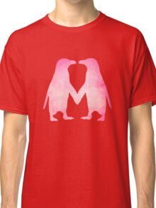 Cute pink watercolor penguins holding hands Classic T-Shirt