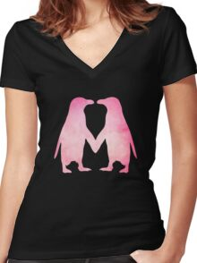 Cute pink watercolor penguins holding hands Women's Fitted V-Neck T-Shirt