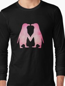 Cute pink watercolor penguins holding hands Long Sleeve T-Shirt