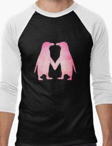 Cute pink watercolor penguins holding hands Men's Baseball ¾ T-Shirt