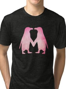 Cute pink watercolor penguins holding hands Tri-blend T-Shirt