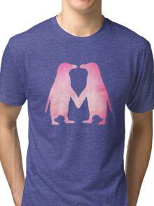 Cute pink watercolor penguins holding hands Tri-blend T-Shirt