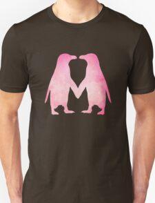 Cute pink watercolor penguins holding hands Unisex T-Shirt