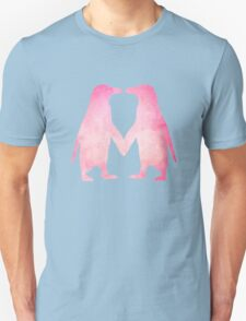 Cute pink watercolor penguins holding hands Unisex T-Shirt