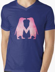 Cute pink watercolor penguins holding hands Mens V-Neck T-Shirt