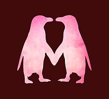 Cute pink watercolor penguins holding hands by rayemond