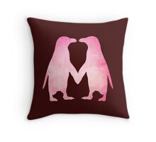 Cute pink watercolor penguins holding hands Throw Pillow