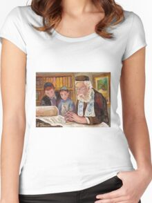 PAINTINGS OF JEWISH CULTURE THE TORAH LESSON  Women's Fitted Scoop T-Shirt