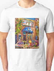 CANADIAN CULTURE PAINTINGS OF BAGEL SHOPS IN SUMMER BY CANADIAN ARTIST CAROLE SPANDAU T-Shirt