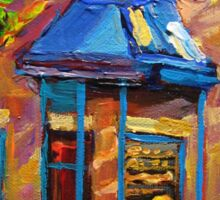 CANADIAN CULTURE PAINTINGS OF BAGEL SHOPS IN SUMMER BY CANADIAN ARTIST CAROLE SPANDAU Sticker