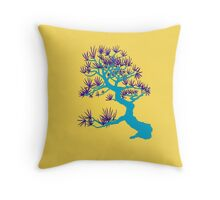 Light Blue Pine Bonsai (Golden Background)  Throw Pillow