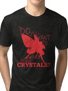 Not Yet! Just a LIttle Longer! (Dark 1) Tri-blend T-Shirt