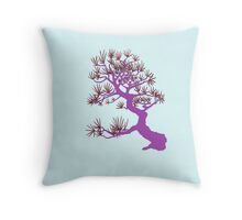 Purple Pine Bonsai (Blue Background)  Throw Pillow