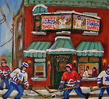 CANADIAN PAINTINGS OF FAIRMOUNT BAGEL AND HOCKEY CULTURE BY CANADIAN ARTIST CAROLE SPANDAU by Carole  Spandau
