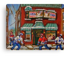 CANADIAN PAINTINGS OF FAIRMOUNT BAGEL AND HOCKEY CULTURE BY CANADIAN ARTIST CAROLE SPANDAU Canvas Print