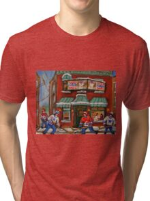 CANADIAN PAINTINGS OF FAIRMOUNT BAGEL AND HOCKEY CULTURE BY CANADIAN ARTIST CAROLE SPANDAU Tri-blend T-Shirt