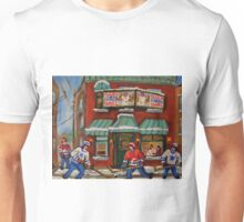 CANADIAN PAINTINGS OF FAIRMOUNT BAGEL AND HOCKEY CULTURE BY CANADIAN ARTIST CAROLE SPANDAU Unisex T-Shirt
