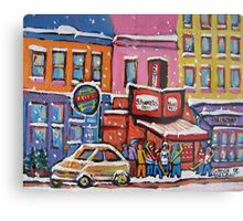 MONTREAL SNOWY DAY AT SCHWARTZ'S DELI CANADIAN ART BY CANADIAN ARTIST CAROLE SPANDAU Metal Print