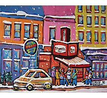 MONTREAL SNOWY DAY AT SCHWARTZ'S DELI CANADIAN ART BY CANADIAN ARTIST CAROLE SPANDAU Photographic Print