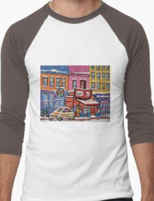 MONTREAL SNOWY DAY AT SCHWARTZ'S DELI CANADIAN ART BY CANADIAN ARTIST CAROLE SPANDAU Men's Baseball ¾ T-Shirt