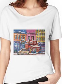 MONTREAL SNOWY DAY AT SCHWARTZ'S DELI CANADIAN ART BY CANADIAN ARTIST CAROLE SPANDAU Women's Relaxed Fit T-Shirt