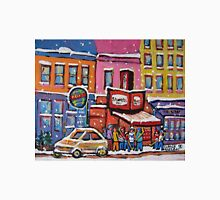 MONTREAL SNOWY DAY AT SCHWARTZ'S DELI CANADIAN ART BY CANADIAN ARTIST CAROLE SPANDAU Unisex T-Shirt